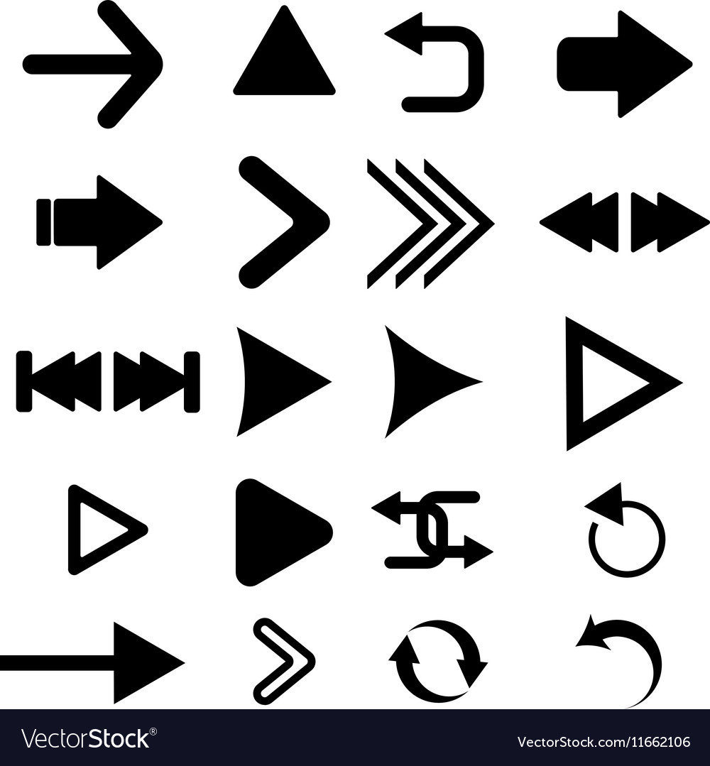 Arrow button icon set black color on white vector image