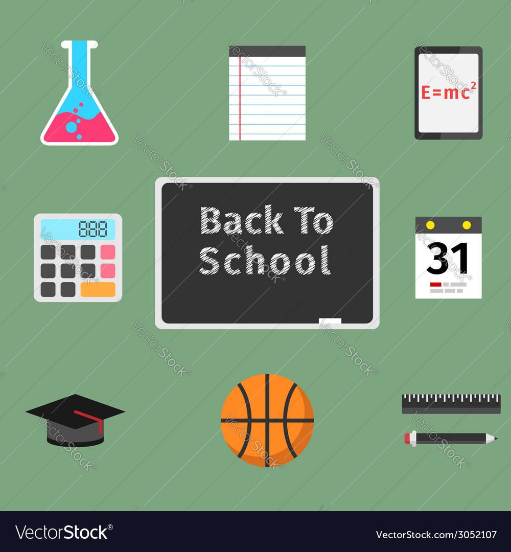 Back to school flat concept set vector image