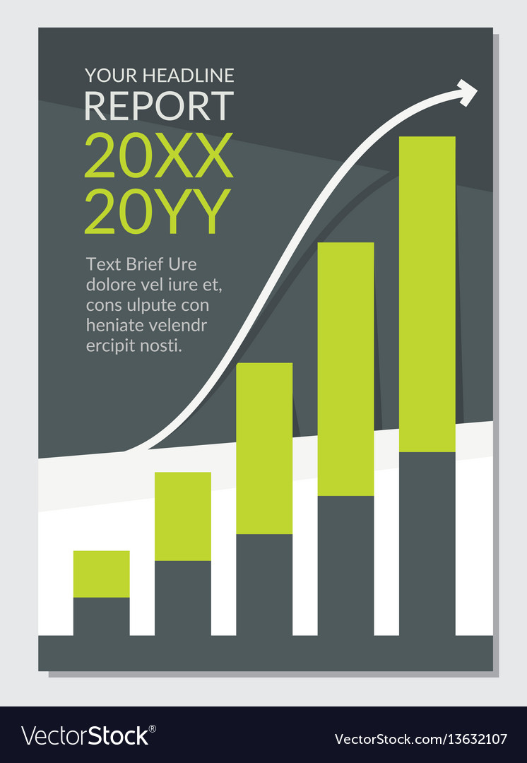 Flat template cover graph anual repport green vector image