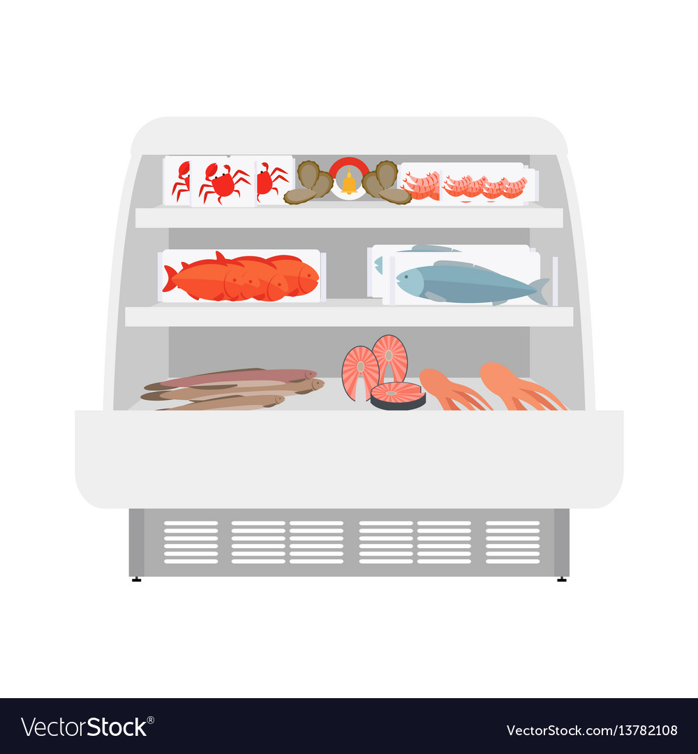Fish and seafood products in store vector image