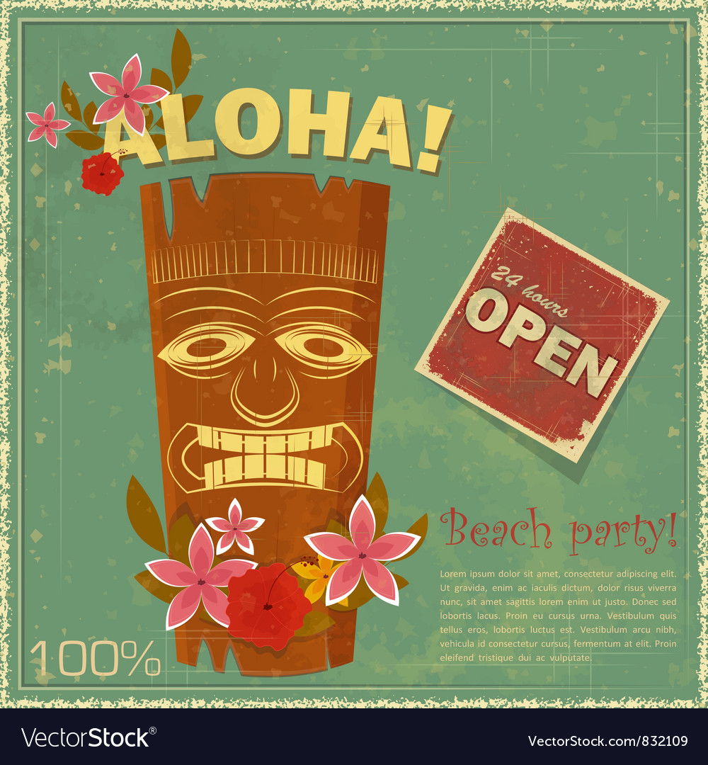 Vintage Hawaiian postcard vector image