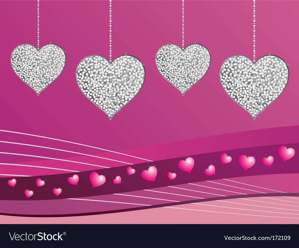 Silver glitter love hearts vector image