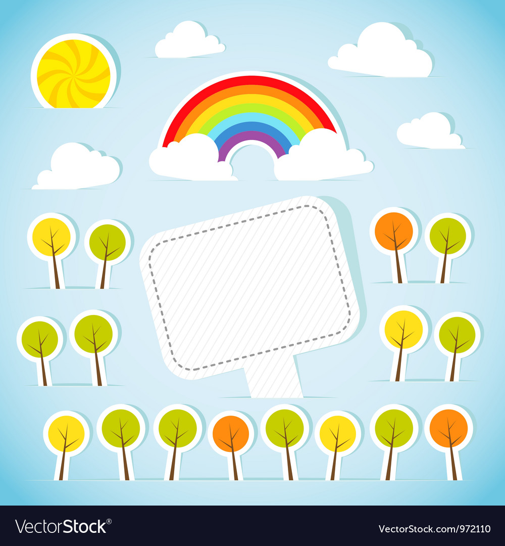 Abstract paper banner with forest and rainbow vector image
