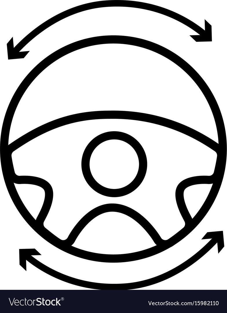 Line steering wheel futuristic car innovation vector image