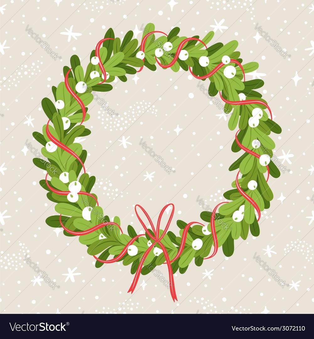 Mistletoe wreath vector image