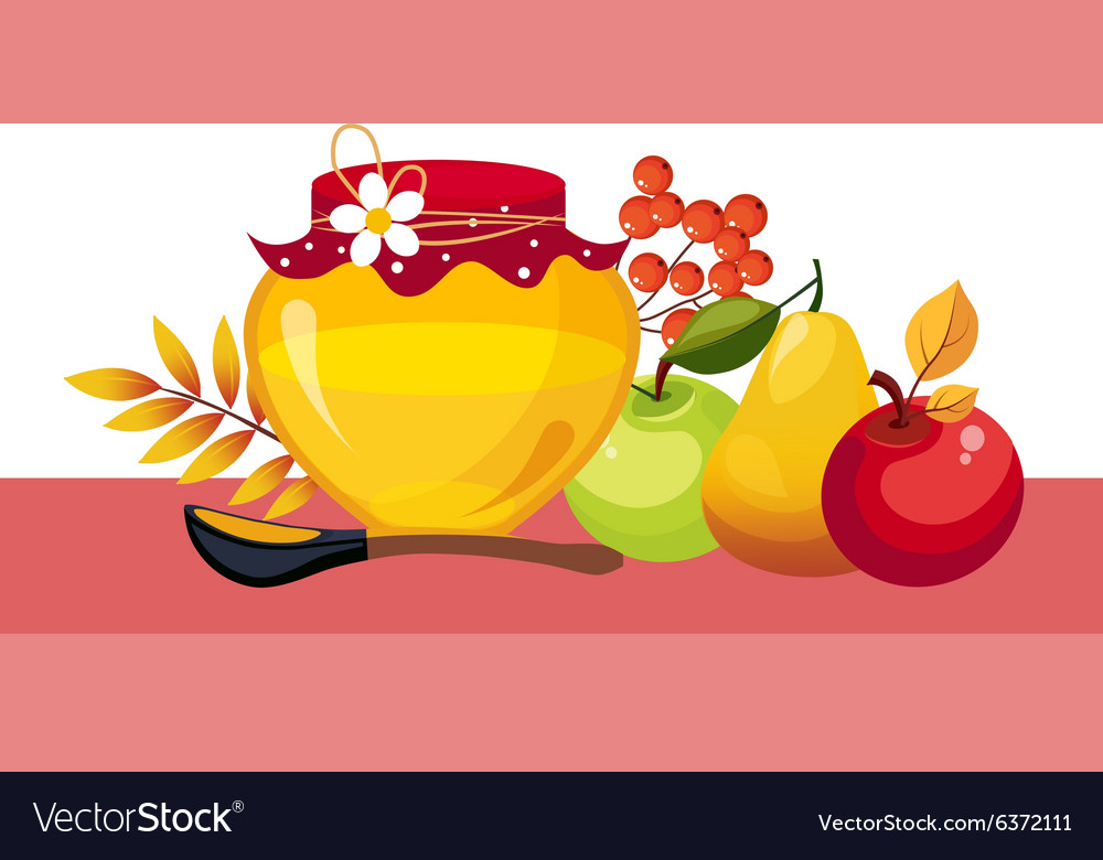 Autumn Harvest with Jar and Fruits vector image