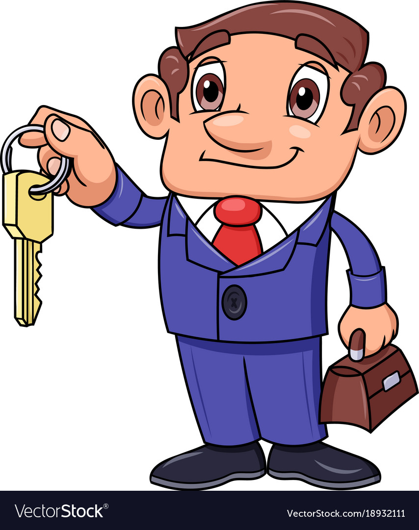 Realtor offering key to the apartment vector image