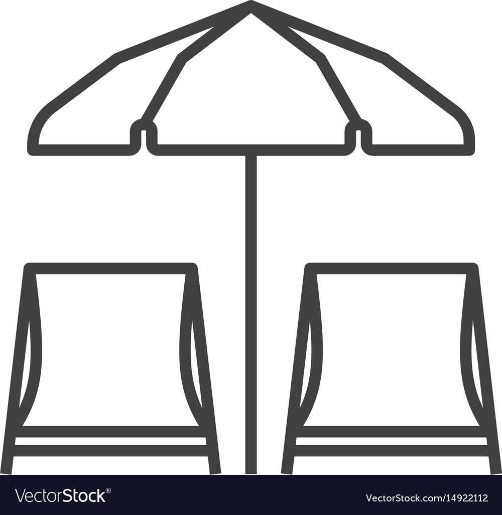 Chaise lounges and sun umbrella vector image