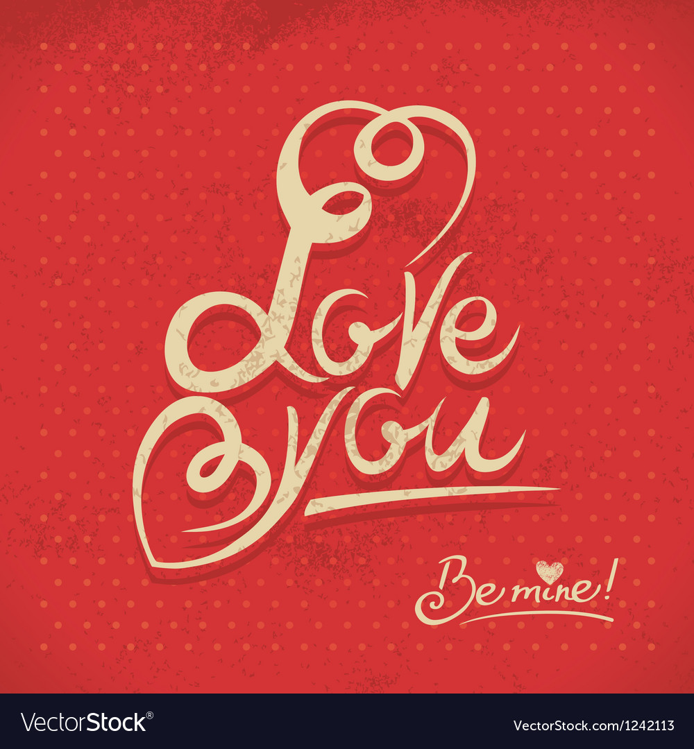 Happy Valentines Day Hand lettering in retro style vector image