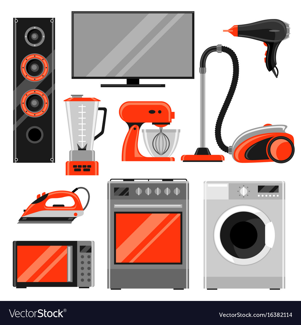 Set of home appliances household items for sale vector image