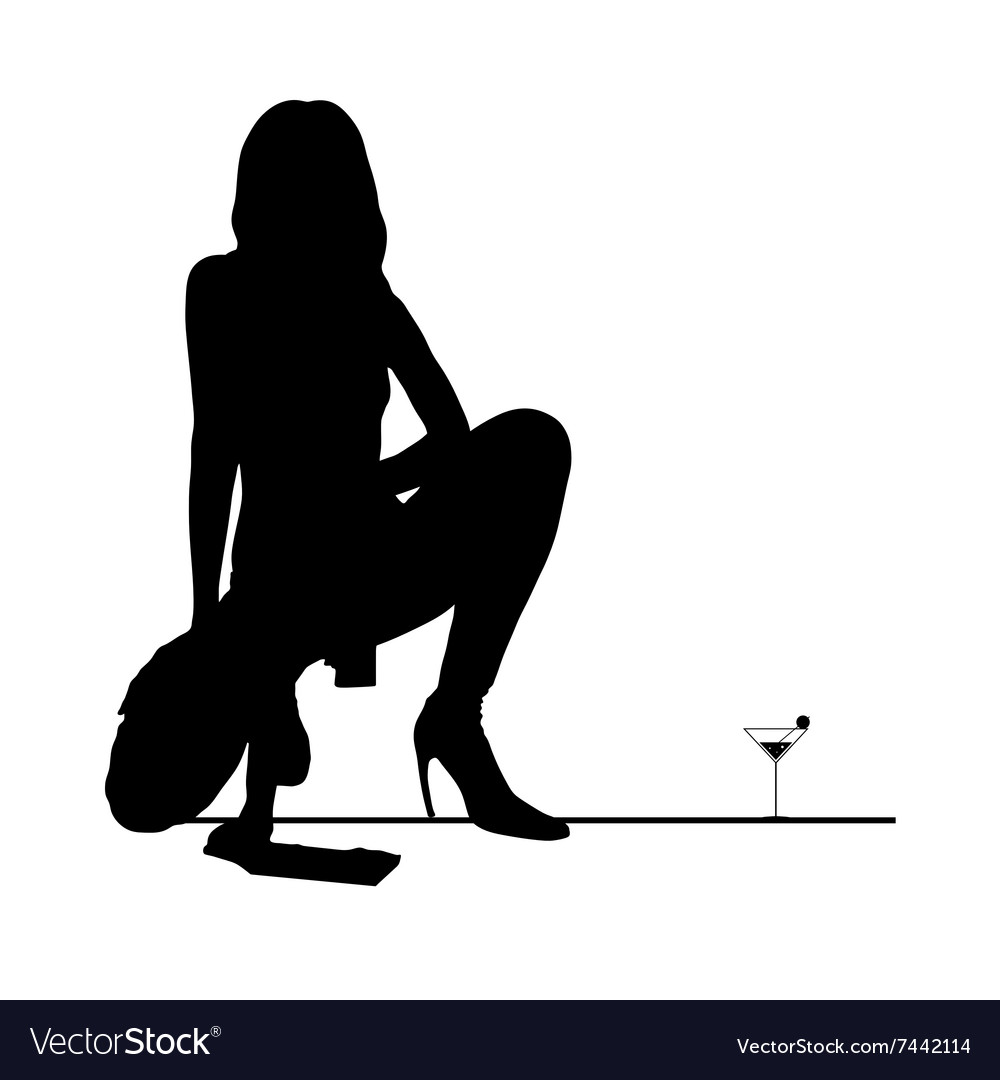 Woman black silhouette with martini glass vector image