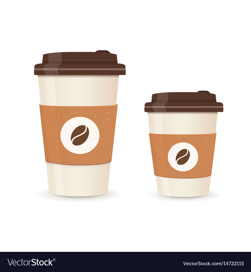 Realistic paper coffee cup set large and small vector image