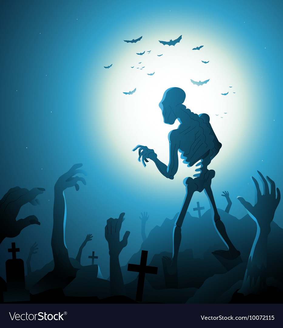 Zombie Halloween background with moon vector image