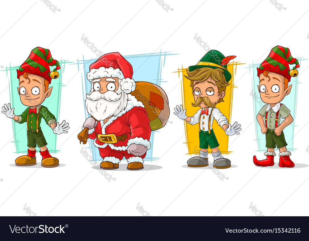 Cartoon santa claus and elf character set vector image