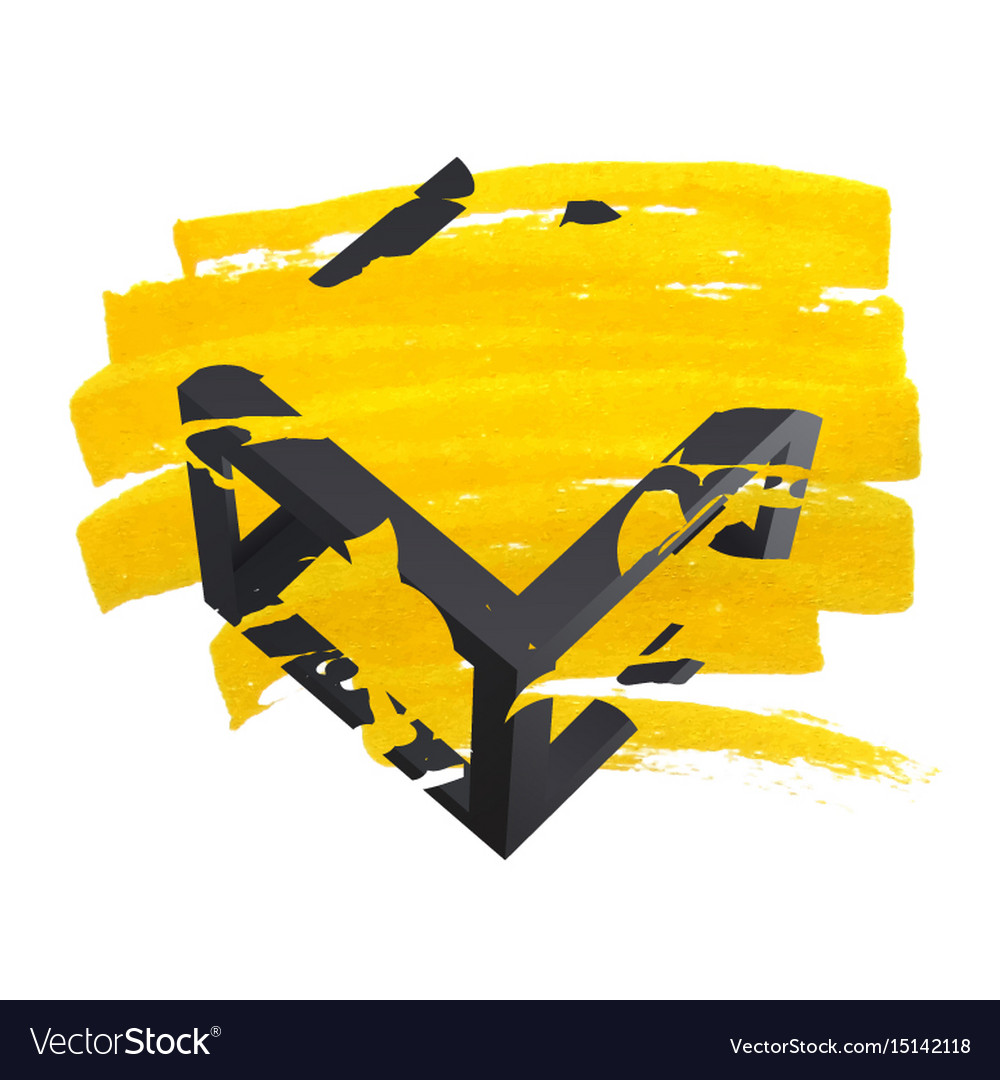 Bright yellow brush stroke hand painted vector image