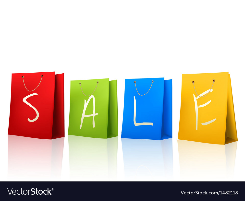 Colorful shopping bags with SALE on them Concept vector image