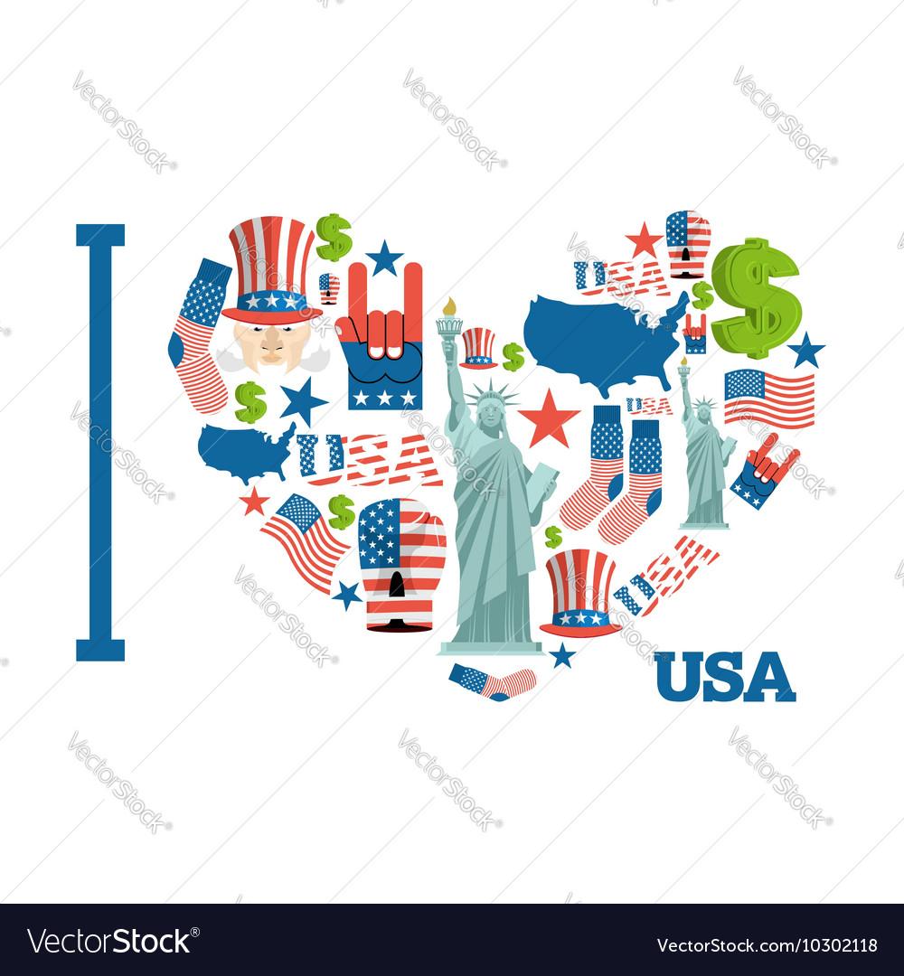 I love America Sign heart of USA traditional folk vector image