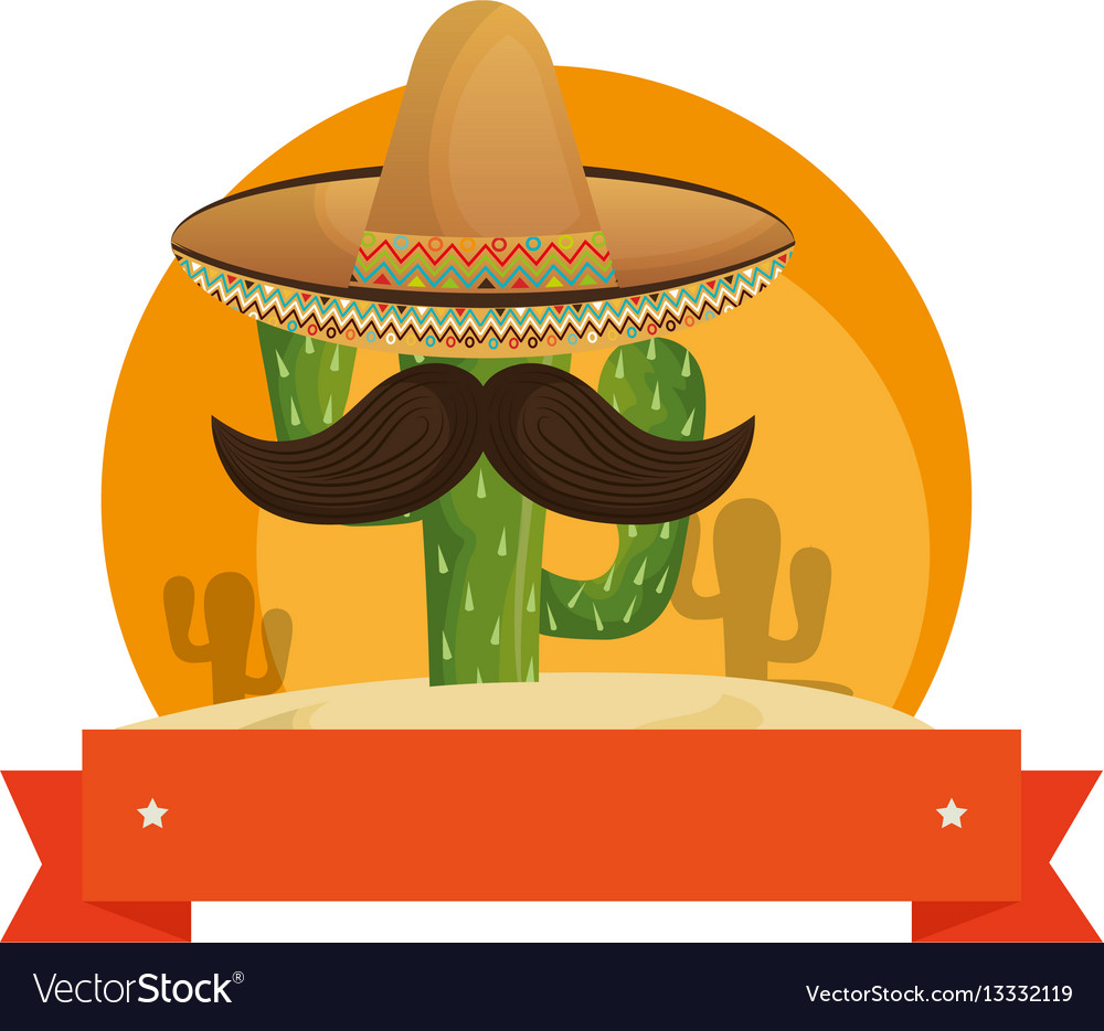 Colorful background with animated sketch cactus vector image