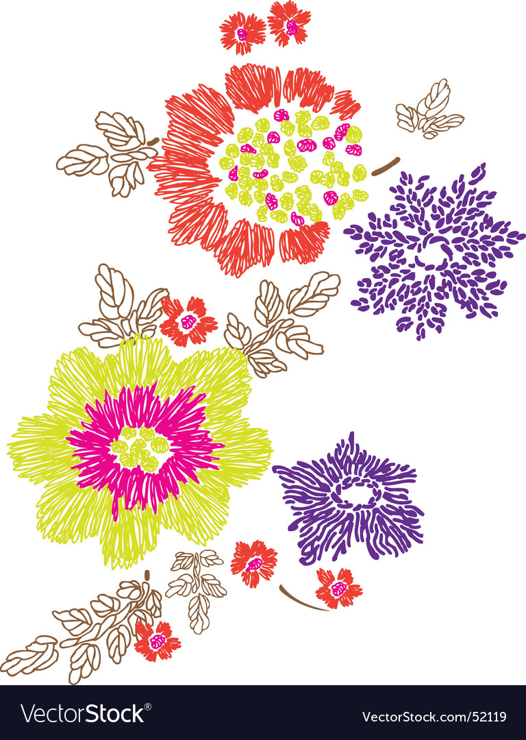 Floral embroidery design vector image