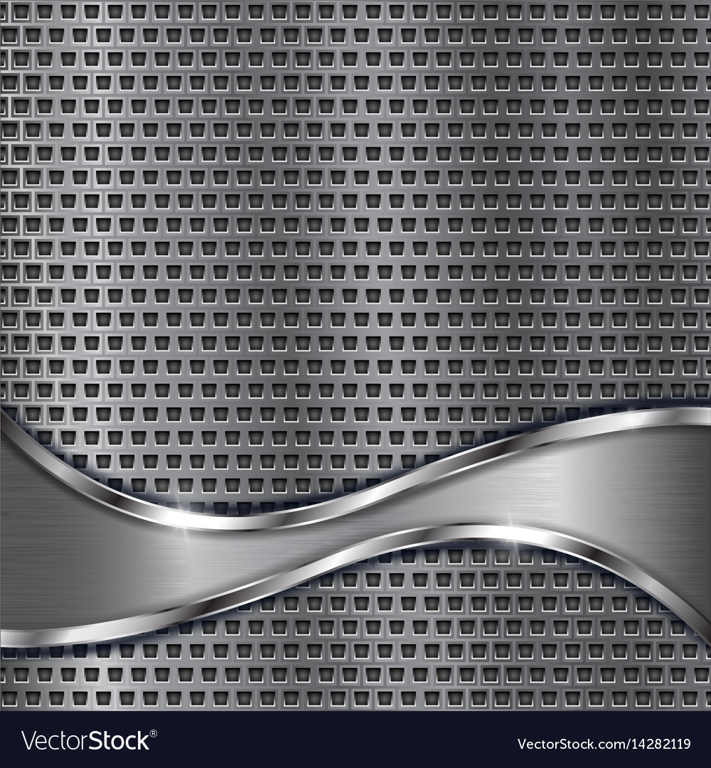 Metal perforated background with brushed stainless vector image
