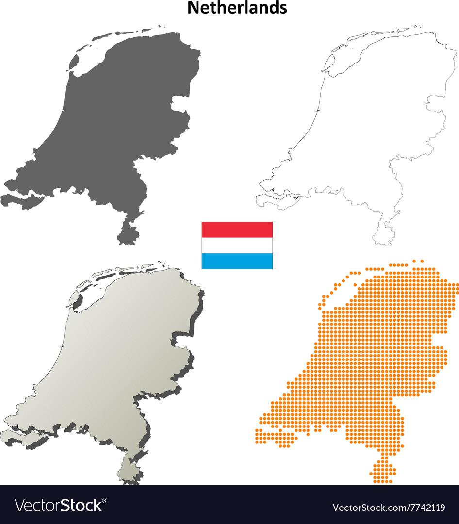 Netherlands outline map set vector image