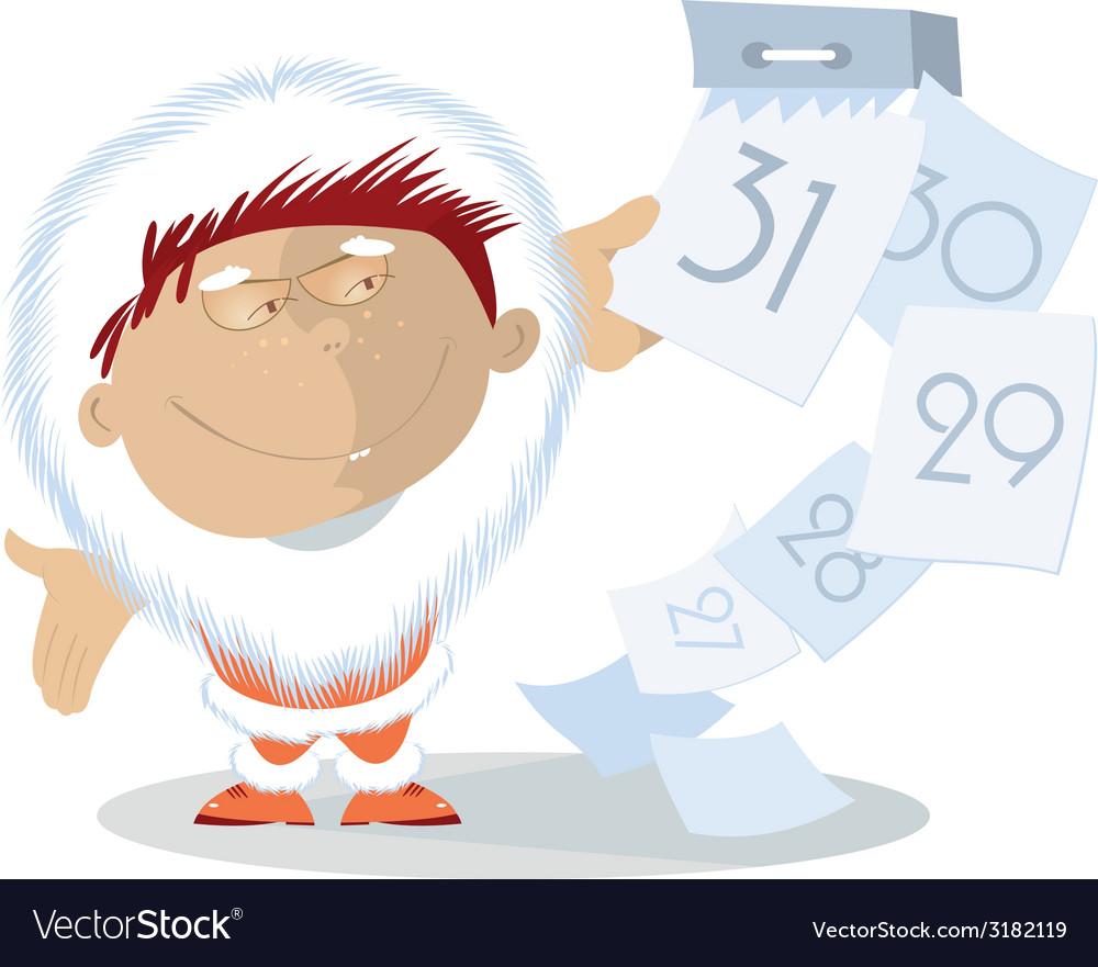 Santa and calendar vector image