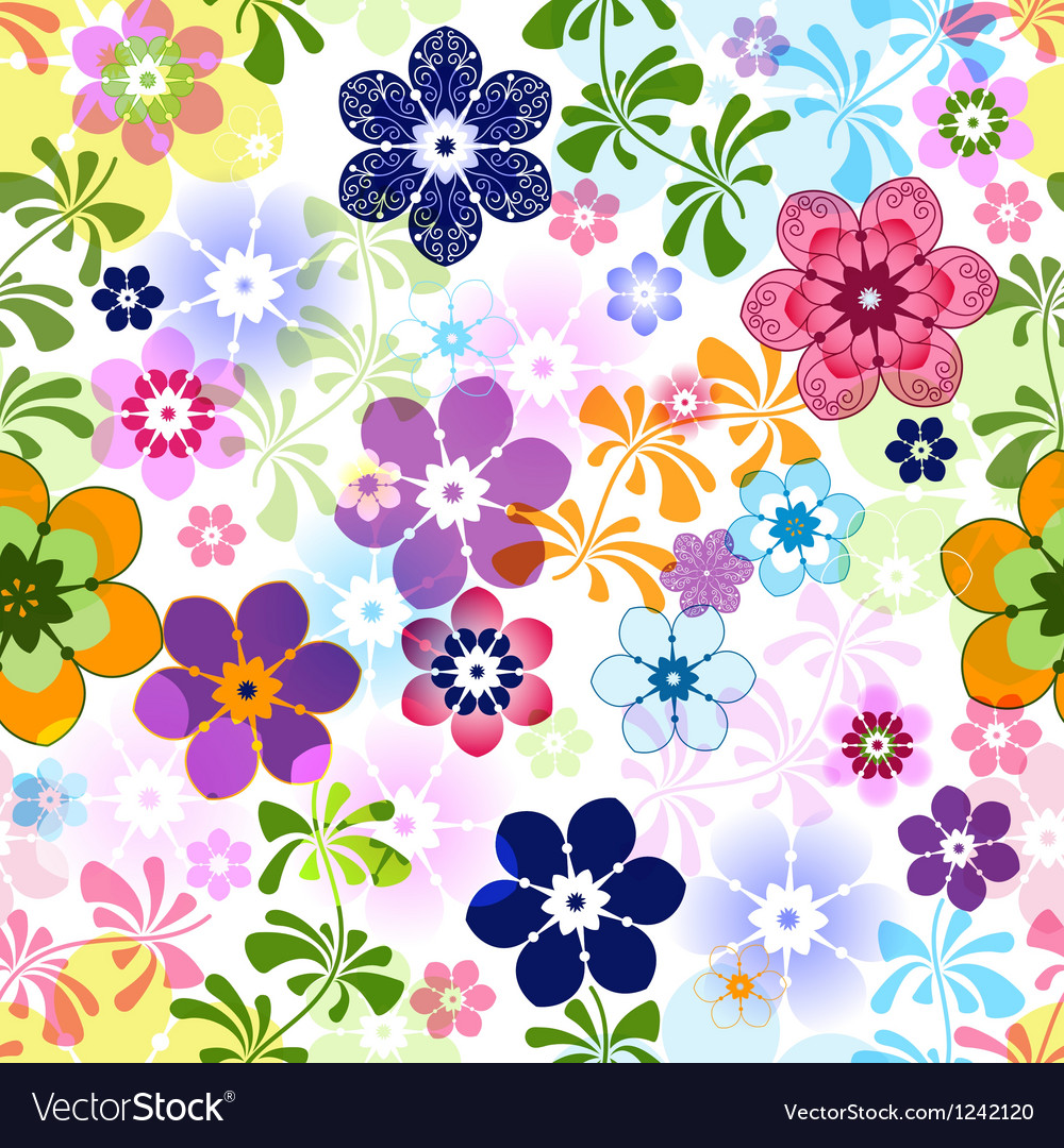 Spring colorful seamless floral pattern vector image
