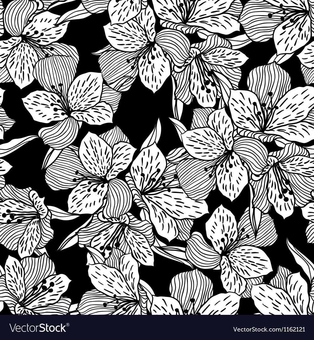 Abstract black seamless flower pattern with orchid vector image