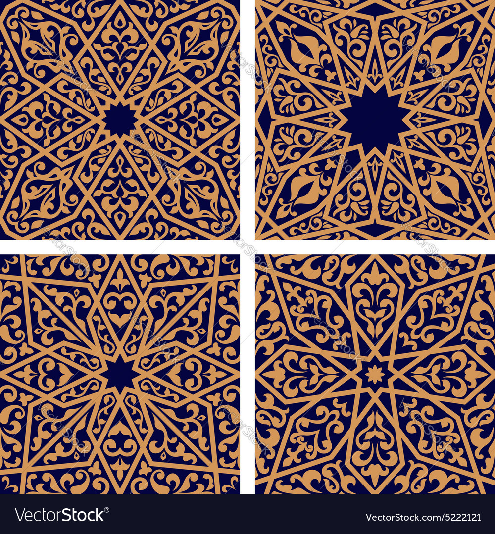 Seamless patterns of arabic ornament vector image