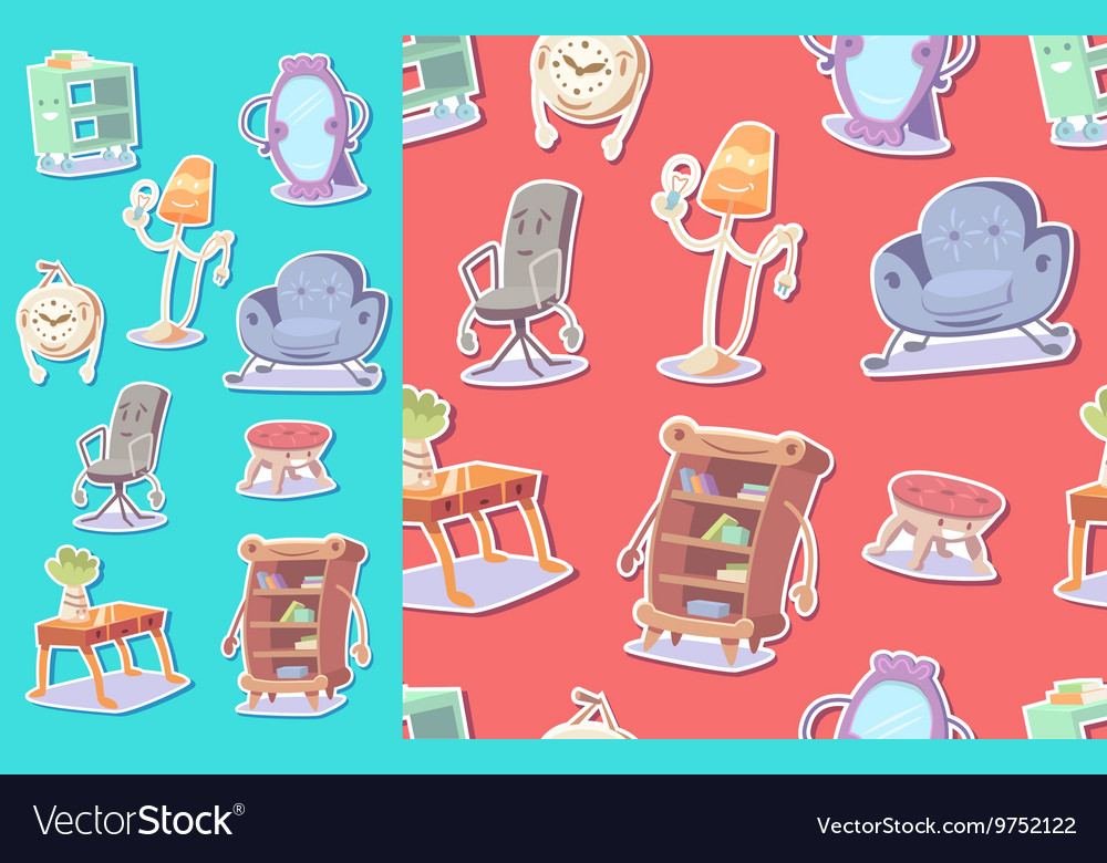 Cute furniture seamless pattern vector image