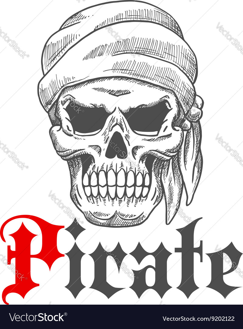 Dead pirate skull symbol for tattoo design vector image buycottarizona Images