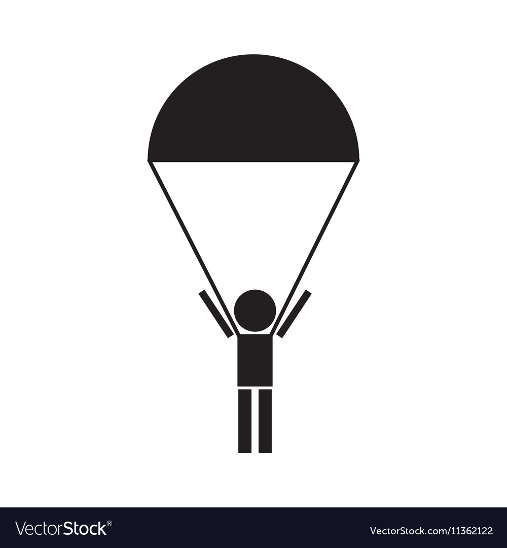 Skydiver silhouettes parachuting icon vector image