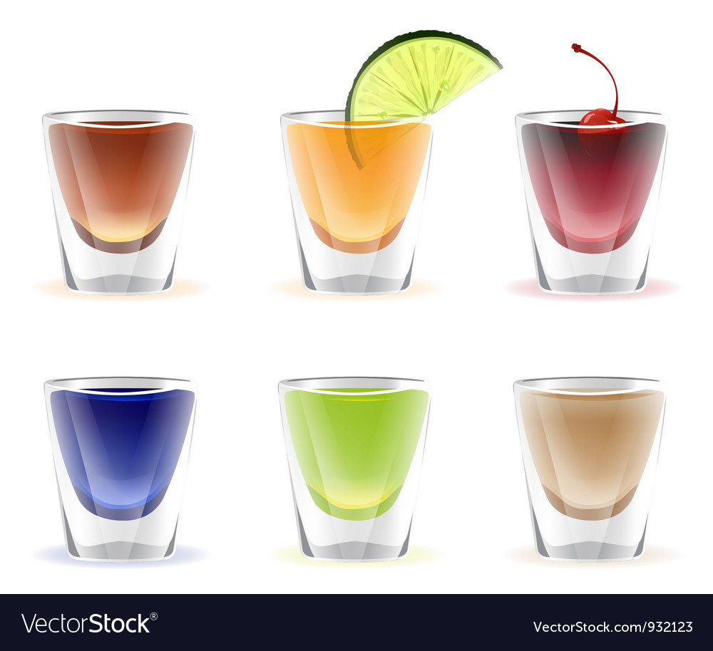 Set of colorful alcohol shots drink vector image