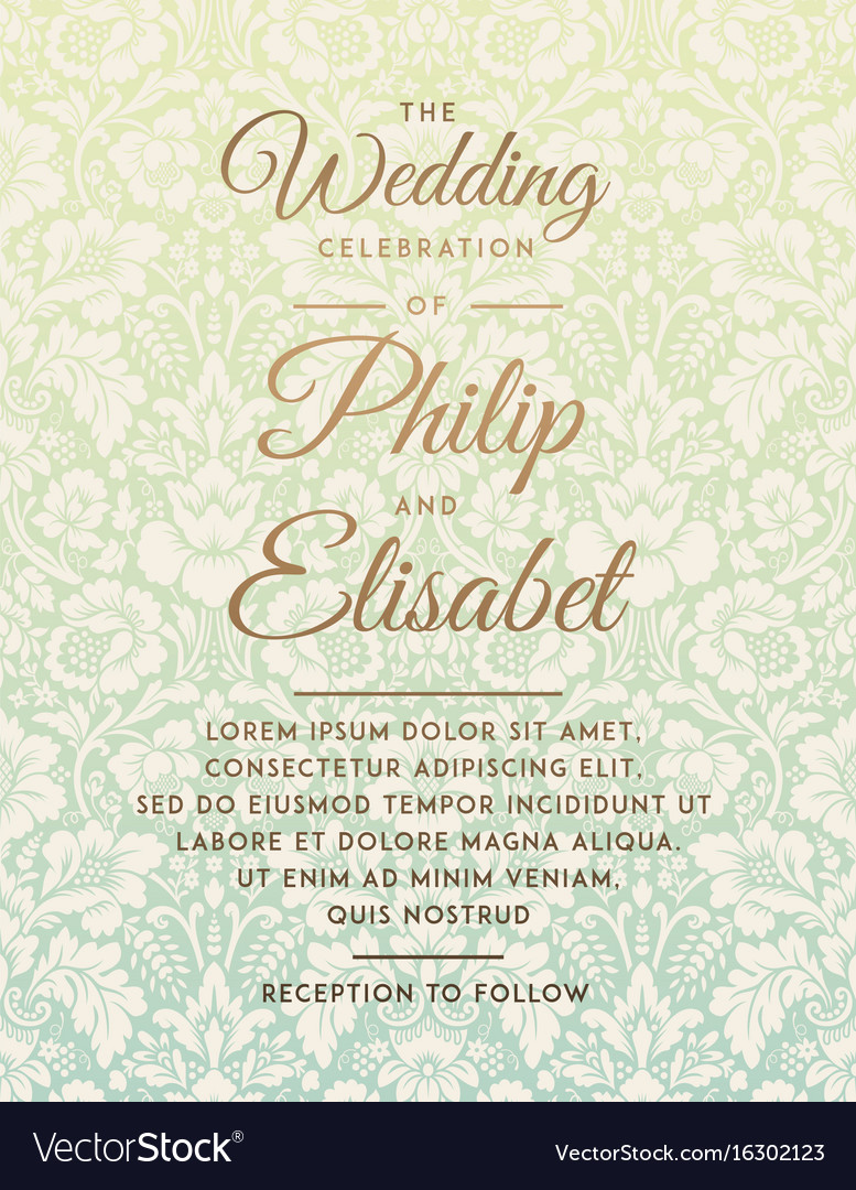 vintage wedding invitation template vector image - Vintage Wedding Invitation Templates