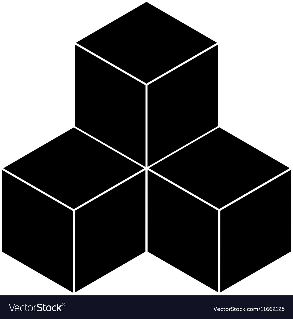 Black cubes on a white background vector image