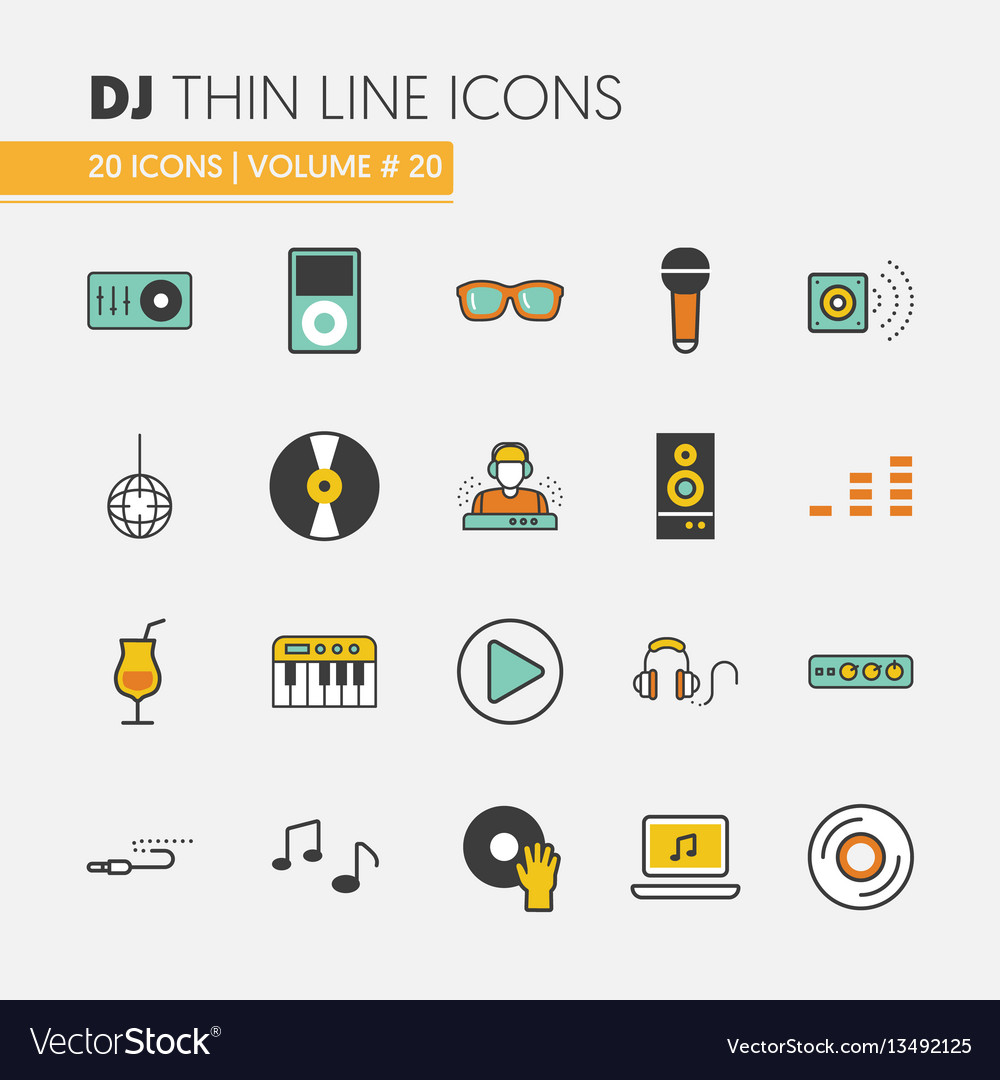 Dj music party linear thin icons set vector image