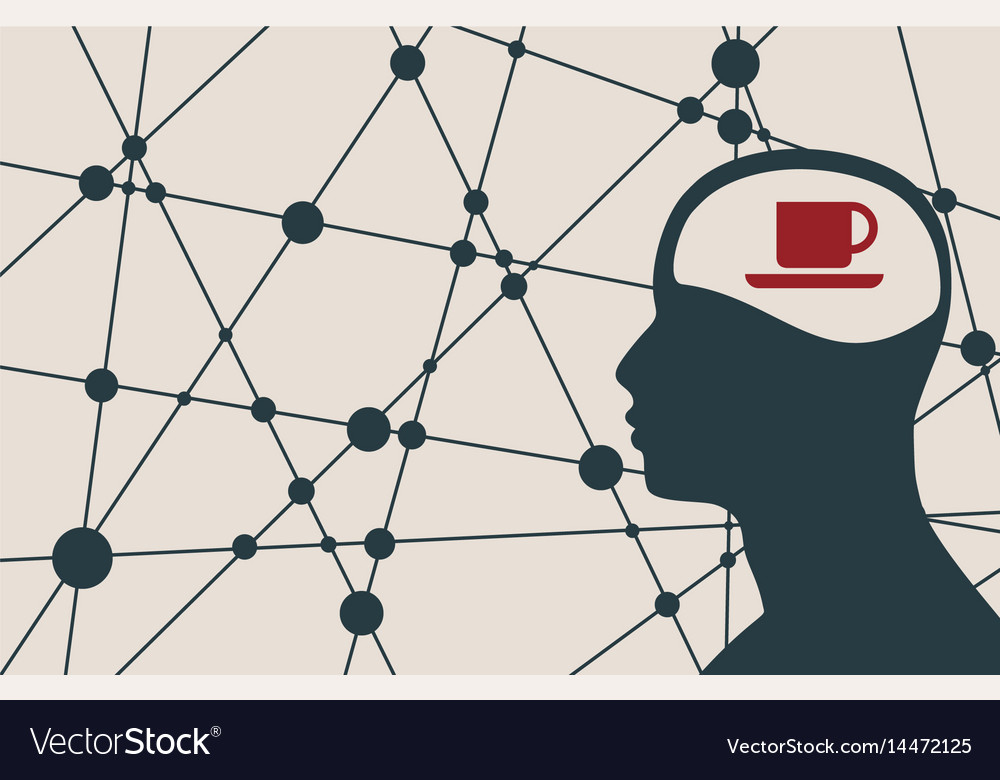 Silhouette of a man head with cup vector image