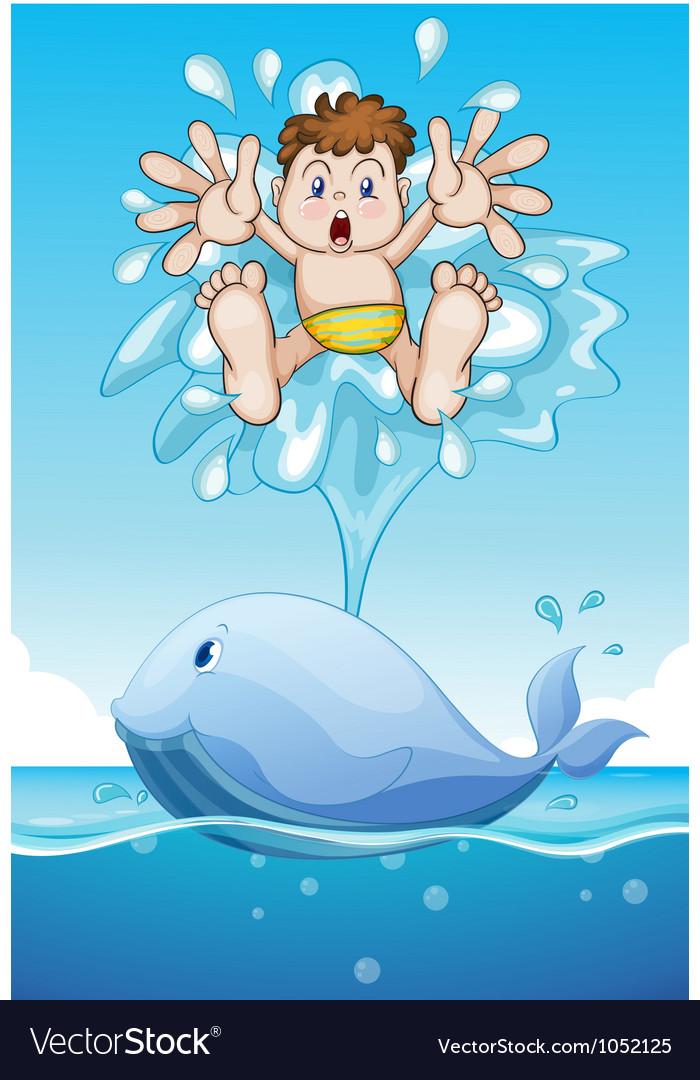 Whale and boy vector image
