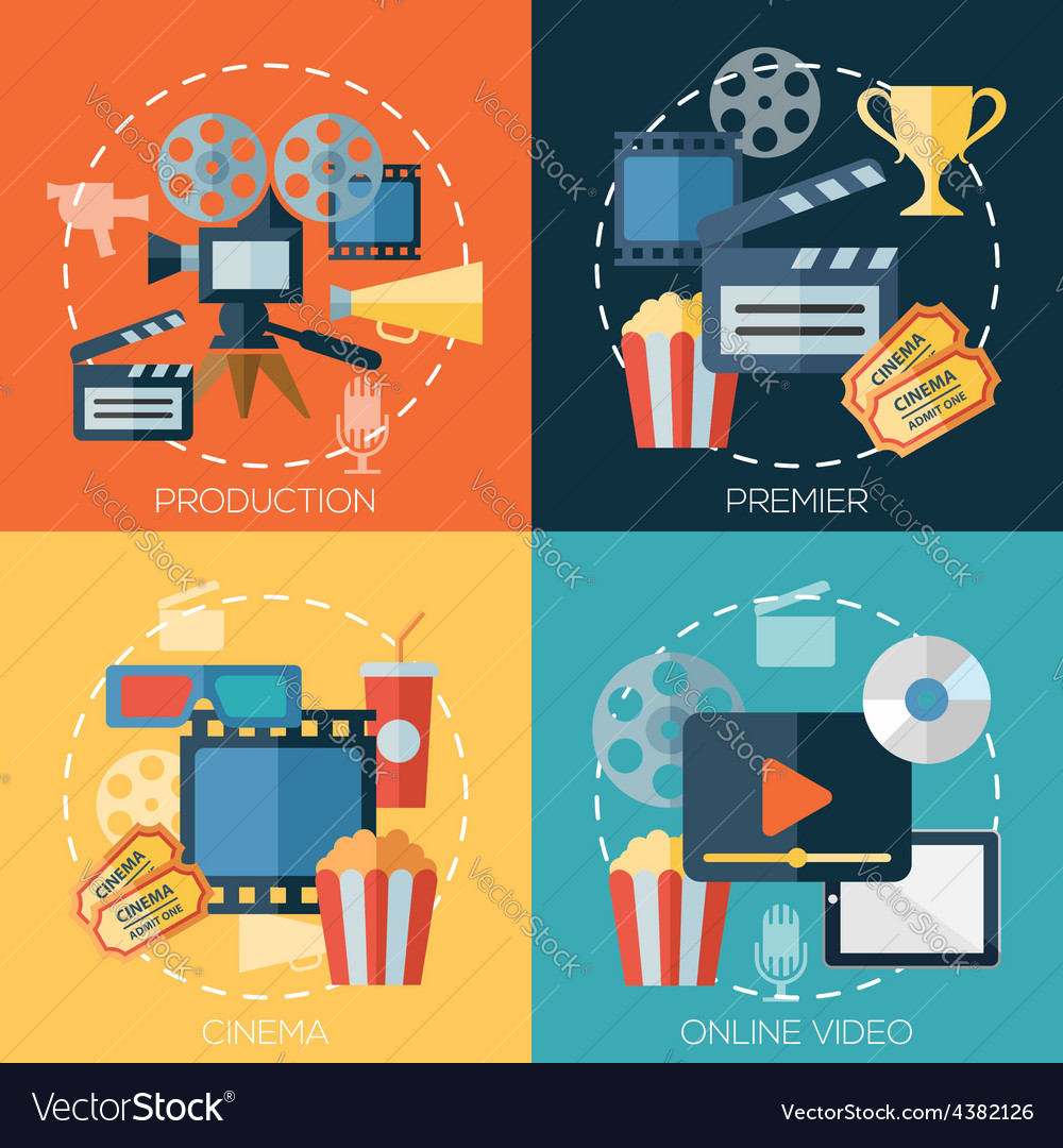 Flat design concepts for cinema movie production vector image