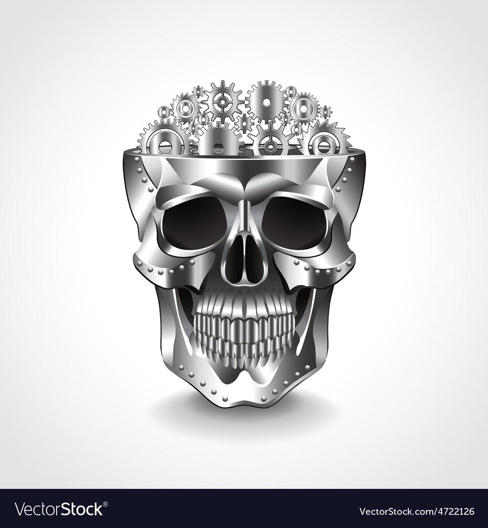 Metal skull brain from gears vector image