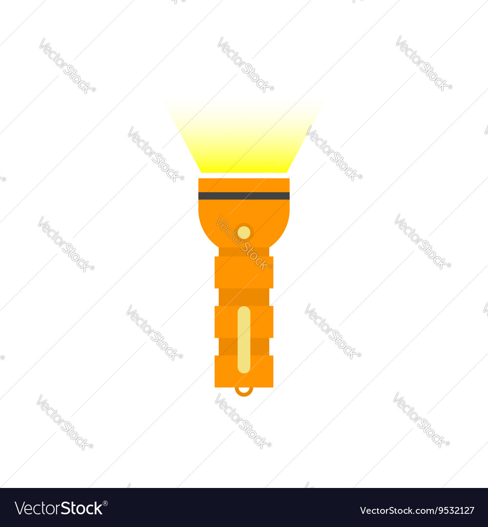 Pocket Flashlight with yellow beam isolated vector image