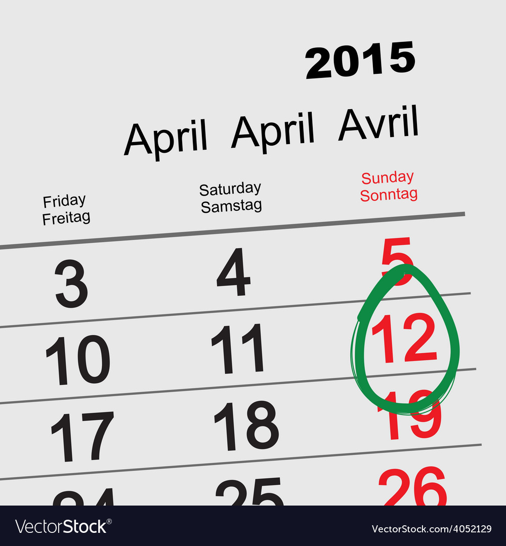 April 12 - Orthodox easter 2015 calendar vector image