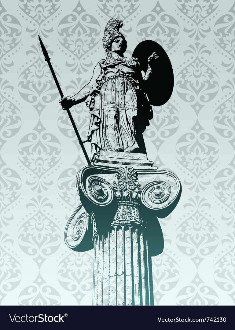 Mythological greek athena holding spear and shield statue of athena vector image biocorpaavc