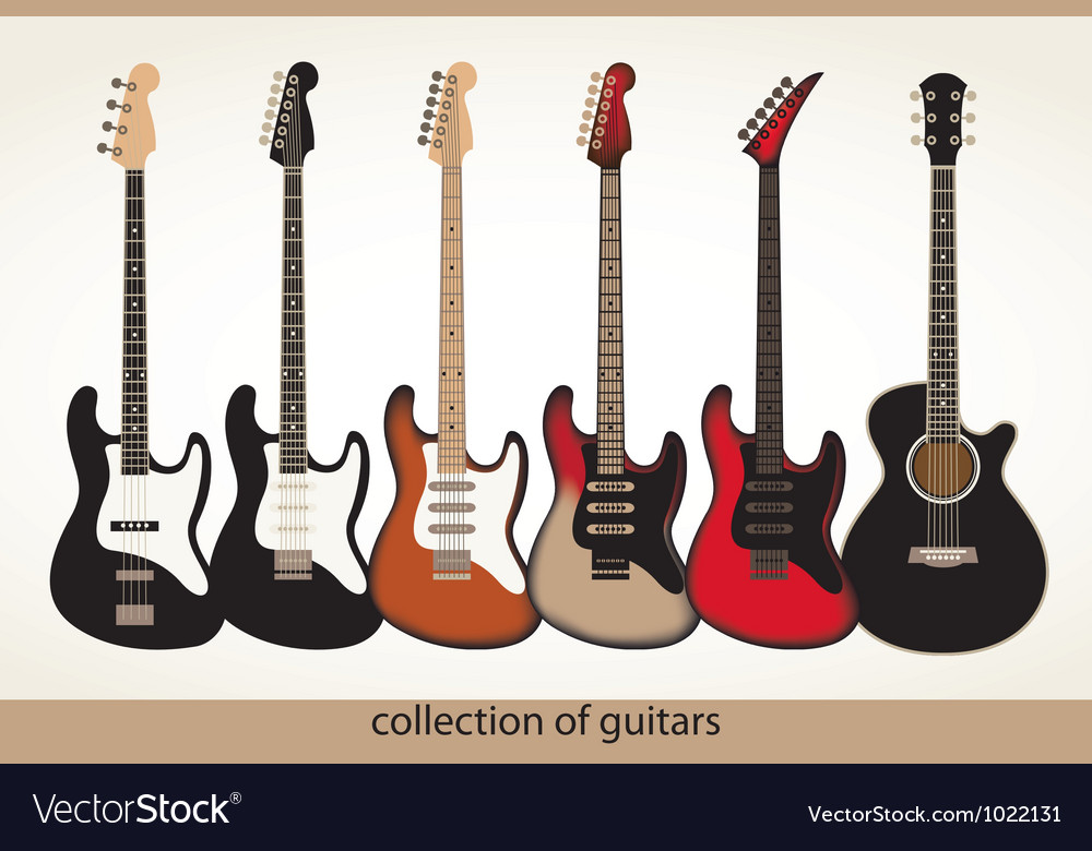 Collection guitars Vector Image