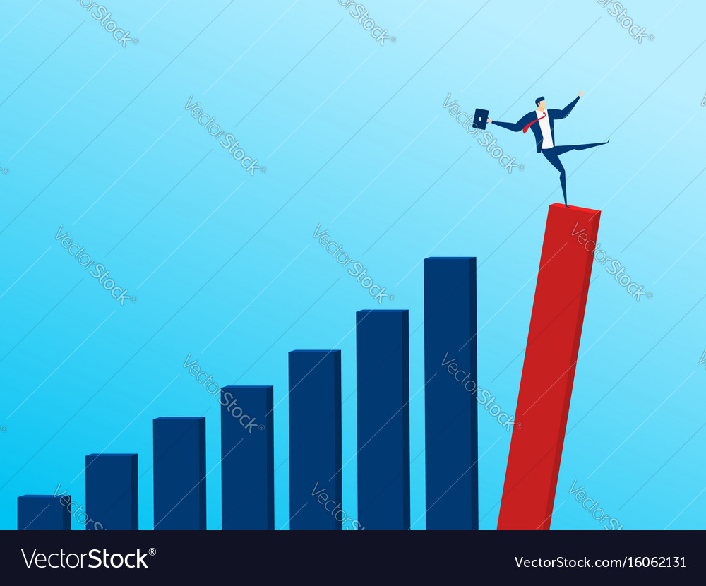 Businessman with falling down trend graph vector image