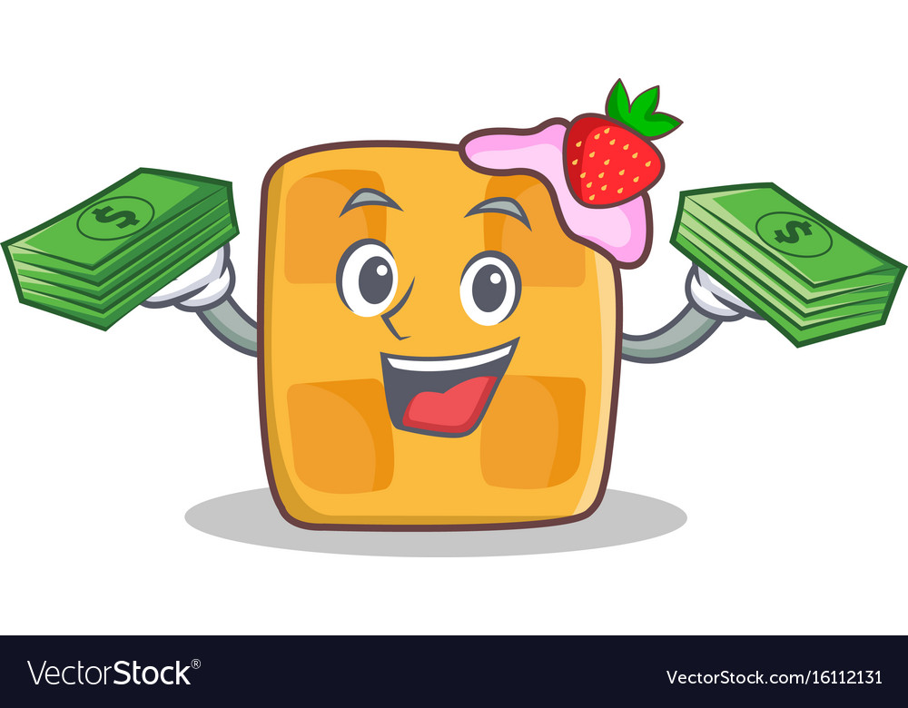 Waffle character cartoon design with money vector image