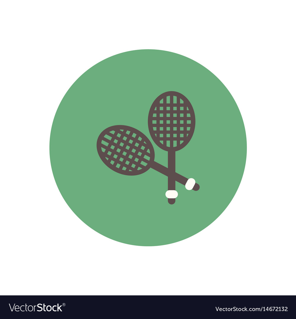Stylish icon in color circle tennis rocket