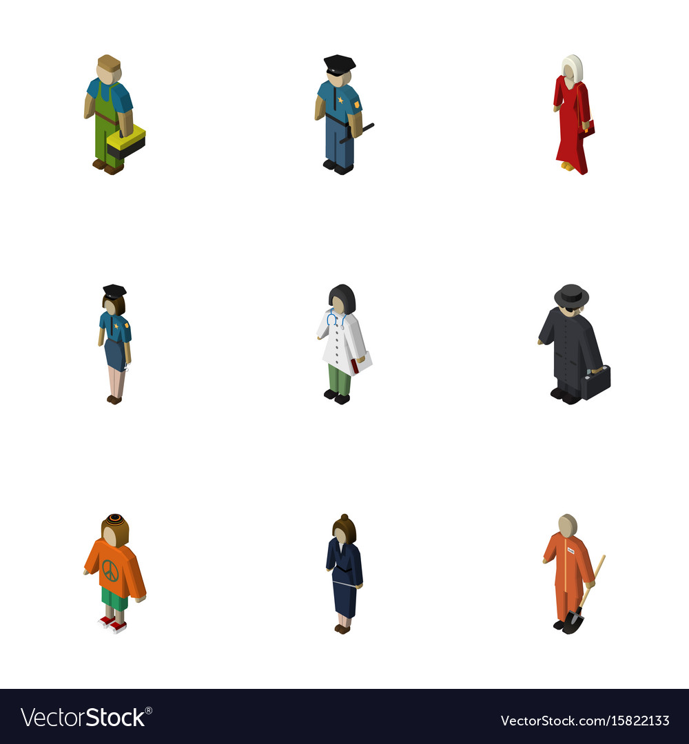 Isometric person set of plumber policewoman vector image