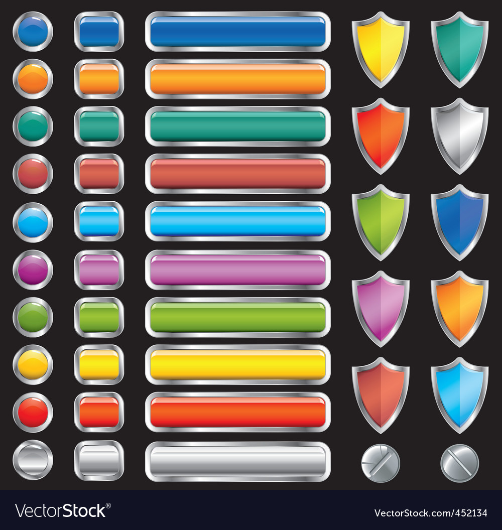 Buttons shields and screw set vector image