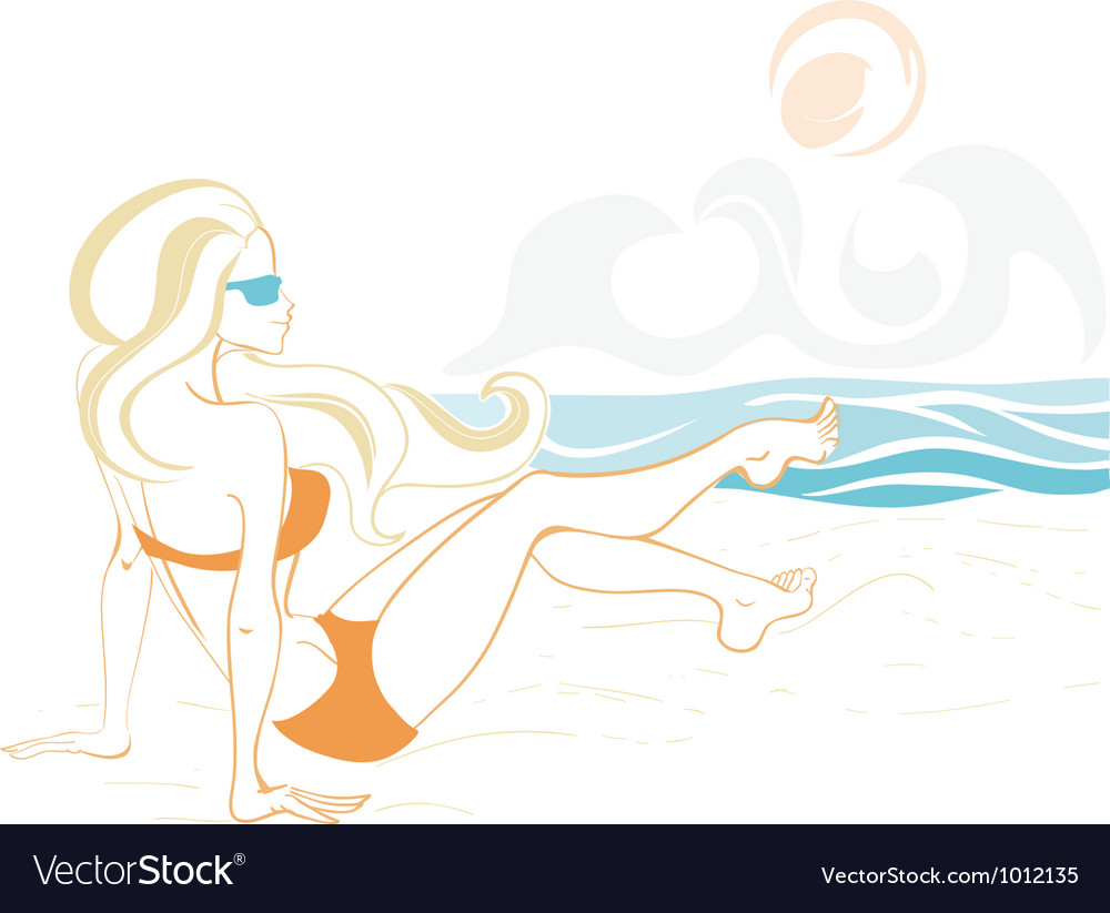 Girl and the ocean doodle 2 vector image